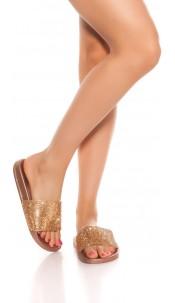 Trendy slippers with rhinestones Bronze