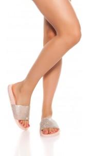 Trendy slippers with rhinestones Pink