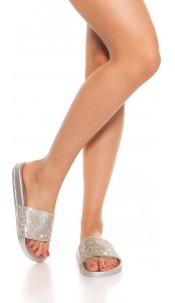 Trendy slippers with rhinestones Silver
