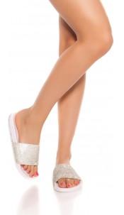 Trendy slippers with rhinestones White