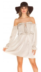 Sexy KouCla mini dress Carmen neckline satin look Beige