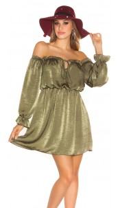 Sexy KouCla mini dress Carmen neckline satin look Khaki