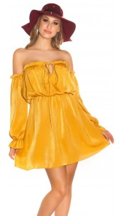 Sexy KouCla mini dress Carmen neckline satin look Mustard