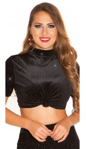 Sexy PArTy TImE Top velvet look & glitter threads Black