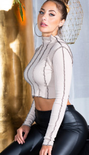 Sexy INVERTED Long sleeve Cropped Top Beige