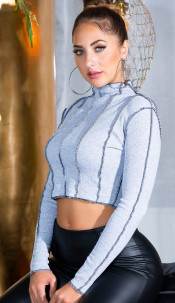 Sexy INVERTED Long sleeve Cropped Top Gray
