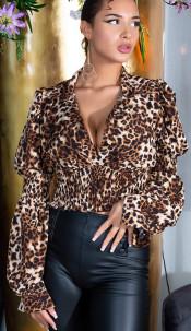 Sexy long sleeve Croped Blouse ruffled Waist Brownleopard