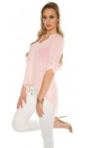 Sexy KouCla Chiffon High Low Blouse Pink