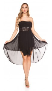 Sexy high-low dress with flounces Blackblacksequins