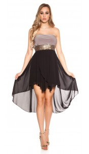 Sexy high-low dress with flounces Cappuccino