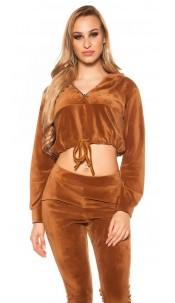 Trendy Nicki Crop Hoodie with Tie Ribbon Brown