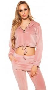 Trendy Nicki Crop Hoodie with Tie Ribbon Pink