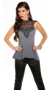 Sexy KouCla top with peplum and crochet Anthracite