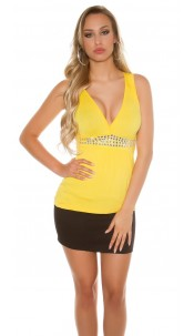 Sexy Top with low neckline and rhinestones Yellow
