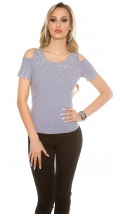 Sexy Coldshoulder T-shirt with glitter rivets Grey