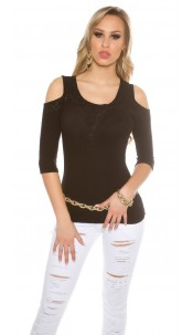 Sexy Cold Shoulder Shirt with embroidery Black