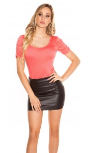 Sexy Koucla Top with puffy sleeves Coral