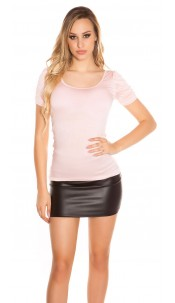 Sexy Koucla Top with puffy sleeves Pink