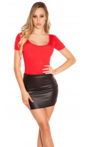 Sexy Koucla Top with puffy sleeves Red