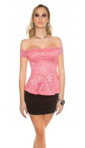 Sexy KouCla lace latina top with peplum Coral