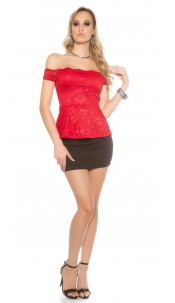 Sexy KouCla lace latina top with peplum Red