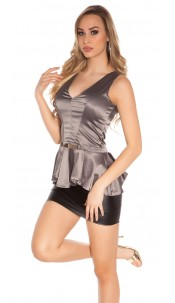 Sexy Koucla party Top with gold buckle Grey