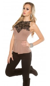 Sexy Koucla-Top with crochet lace Cappuccino