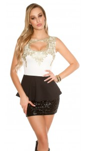 Trendy Koucla top with peplum and lace Cream
