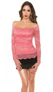 Sexy KouCla lace shirt shoulderfree Coral