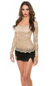 Sexy Koucla shirt with lace Beige