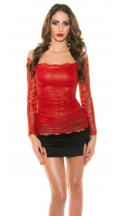 Sexy Koucla shirt with lace Red