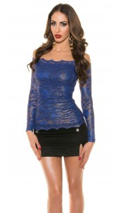 Sexy Koucla shirt with lace Royalblue