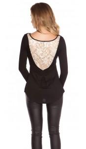 Trendy Koucla shirt with lace Black