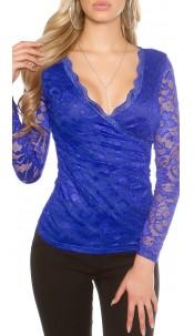 Sexy KouCla lace long sleeve shirt wrap optics Royalblue