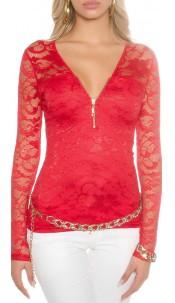 Kanten shirt met lange mouwen en rits Rood