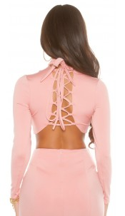 Sexy KouCla Long Sleeve Crop Shirt laced Rose