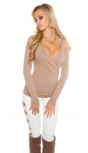 Sexy Koucla longsleeve shoulderfree wrap look Cappuccino