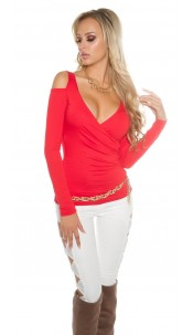 Sexy Koucla longsleeve shoulderfree wrap look Red