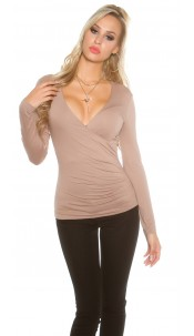 Sexy KouCla Shirt in wrap look Cappuccino