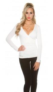 Sexy KouCla Shirt in wrap look Cream