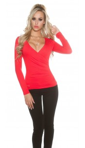 Sexy KouCla Shirt in wrap look Red