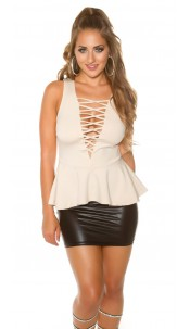 Sexy Koucla Top with peplum & WOW-decollette Beige