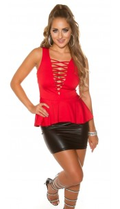 Sexy Koucla Top with peplum & WOW-decollette Red