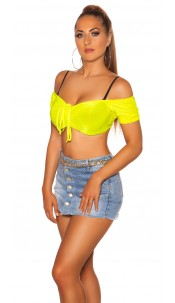 Sexy KouCla Off Shoulder Crop Top Neonyellow
