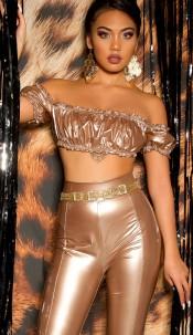 Sexy KouCla Party Wetlook Crop Top Gold