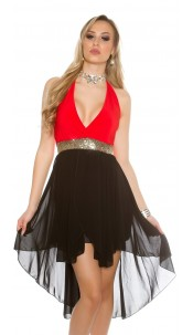 Sexy High-Low-dress to tie on neck Red