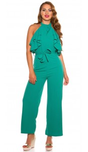 Sexy KouCla Neck jumpsuit with flounce Green