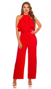 Sexy KouCla Neck jumpsuit with flounce Red