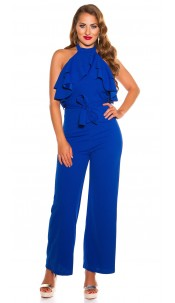 Sexy KouCla Neck jumpsuit with flounce Royalblue