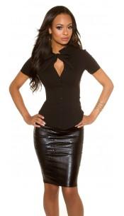 Sexy KouCla short sleeve blouse Black